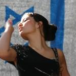 Israeli woman with flag