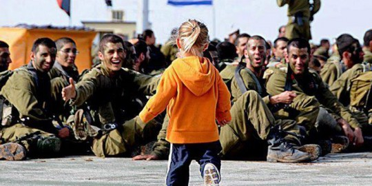 Little girl with Israeli soldiers