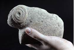 Stone age figurine in Jerusalem