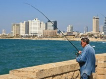 Man fishing in Israel