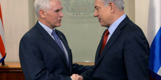 JERUSALEM, ISRAEL - DECEMBER 29: (ISRAEL OUT) In this handout provided by the Israeli Government Press Office, Israel Prime Minister Benjamin Netanyahu (R) shakes hands with Indiana Governor Michael Pence as they meet December 29, 2014 in Jerusalem, Israel. (Photo by Amos Ben Gershom /GPO via Getty Images)